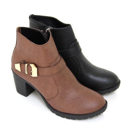 【Pretty】個性品味側拉鍊粗高跟短靴