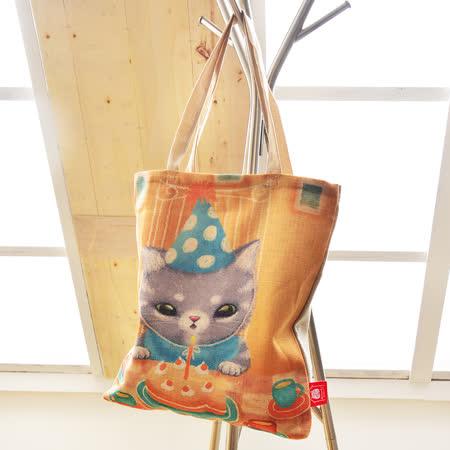 義大利Fancy Belle X DreamfulCat《Mumu生日快樂》麻織購物袋