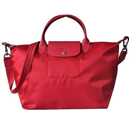 【好物分享】gohappy 線上快樂購Longchamp Le pliage Neo 尼龍布短帶提/斜背兩用包(紅/中)開箱台南 市 遠東 百貨