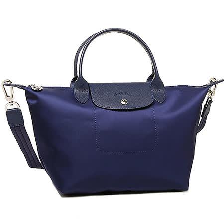 Longchamp Le pliage Neo 尼龍布短帶提/斜背兩用包(海軍藍/小)
