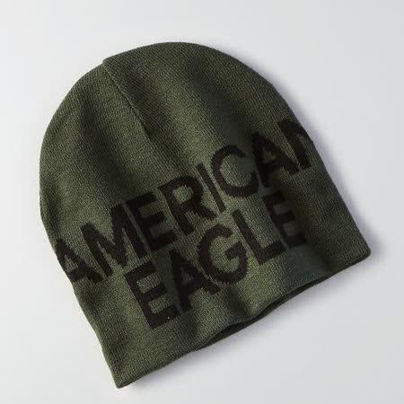 【American Eagle 】2016男時尚字母標誌橄欖綠雙面豆豆帽【預購】