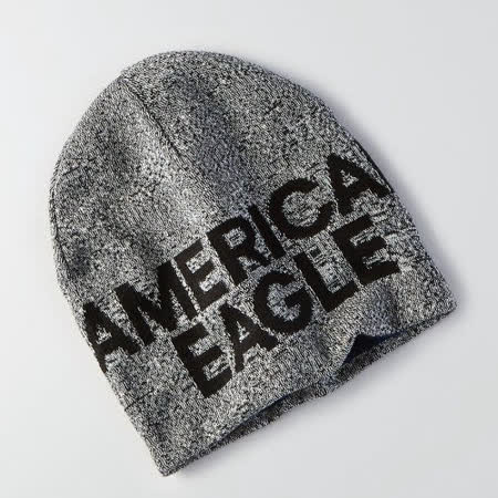【American Eagle 】2016男時尚字母標誌深灰色雙面豆豆帽【預購】