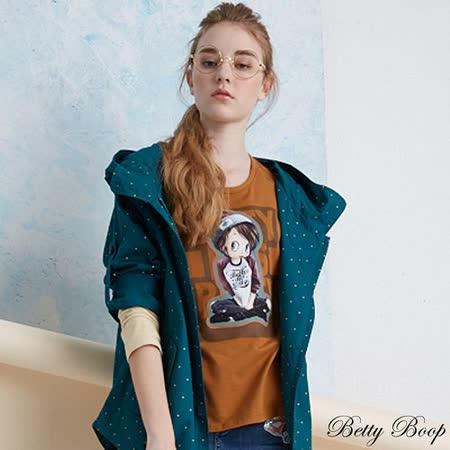 【Betty Boop貝蒂】彈性膠圖配色棒球T恤(共二色)