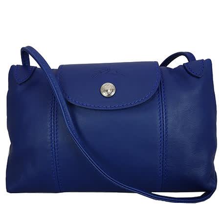 Longchamp Le Pliage Cuir 小羊皮迷你斜背包/郵差包(藍色)