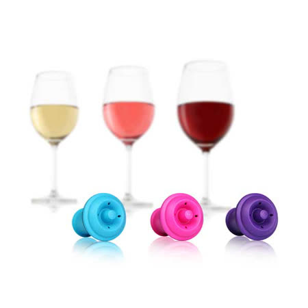 《Vacu Vin》葡萄酒保鮮瓶塞三入組(彩色) Wine Stoppers set of 3/ 酒器週邊