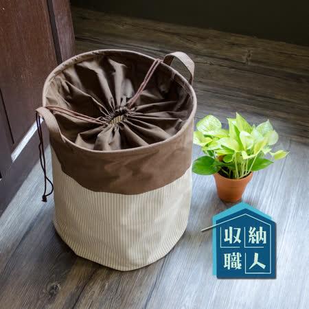 【收納職人】日系海洋風棉麻條紋拼接束口收納桶/洗衣籃/髒衣籃 (咖啡圓桶款)