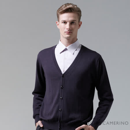 ROBERTA諾貝達 進口素材 台灣製V領紳士 光滑綿密純羊毛背心外套-深紫