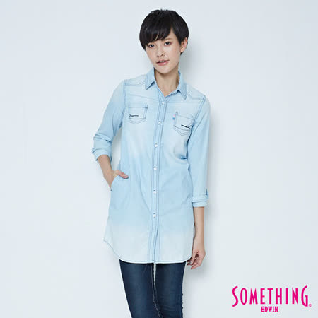 SOMETHING 網路限定 條紋牛仔長版襯衫-女-重漂藍