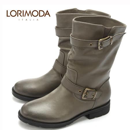LORIMODA 義大利手工鞋 個性背帶穿釦皮革中統低跟馬靴真皮防滑底 MARTHA.A2(深灰)