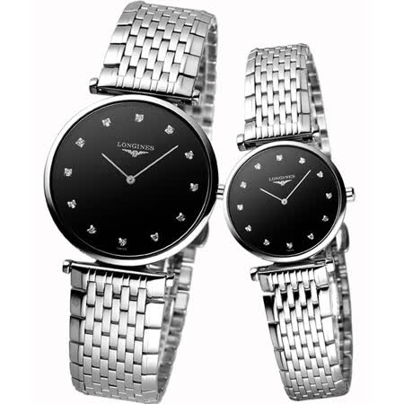 LONGINES 嘉嵐超薄真鑽對錶-黑 L47094586+L42094586