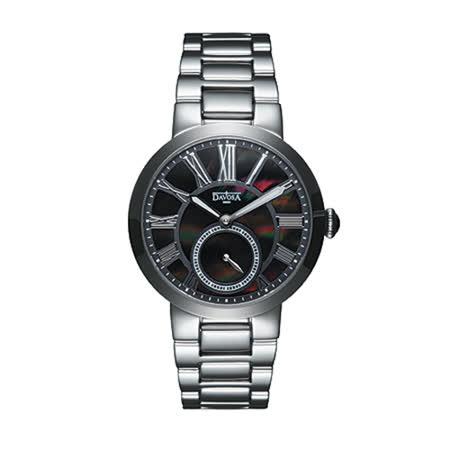 DAVOSA Calypso 小秒針時尚腕錶-不鏽鋼外殼/ 黑色珍珠母貝錶面/35mm