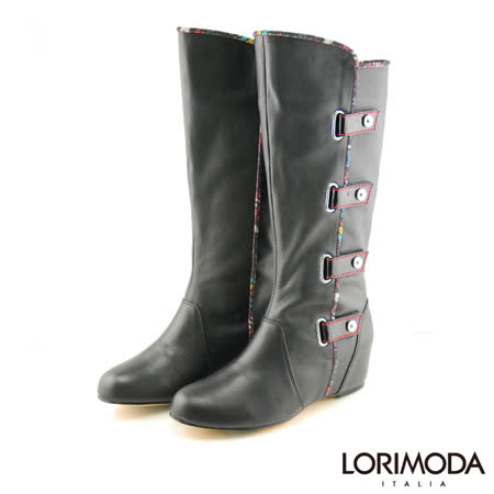 【LORIMODA】 英倫風穿帶內增高高統靴真皮防滑底 MOLLY.A3(黑色)