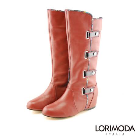 【LORIMODA】 英倫風穿帶內增高高統靴真皮防滑底 MOLLY.A3(酒紅)
