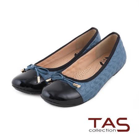 TAS 太妃Q系列 柔軟乳膠蝴蝶結菱格紋拼接娃娃鞋-復古藍