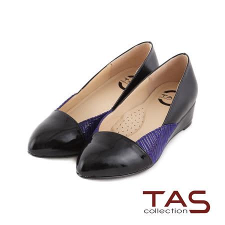 TAS 太妃Q系列 柔軟乳膠鏡面斑馬紋楔型娃娃鞋-時尚黑