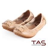 TAS 太妃Q系列 柔軟乳膠流蘇金屬圓釘摺疊娃娃鞋-淺卡其