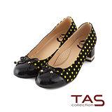 TAS 太妃Q系列 柔軟乳膠圓點拼接蝴蝶結粗跟鞋-焦點黑