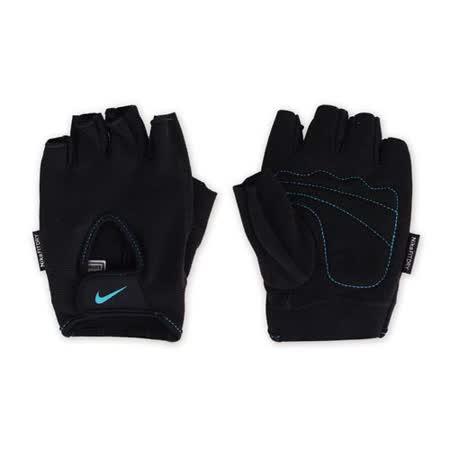 (女) NIKE 用基礎健力手套-健身 自行車 短指手套 重量訓練 黑水藍 L