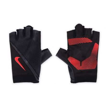 (男) NIKE 用動態訓練手套-短指手套 重量訓練 健身 黑橘紅 L