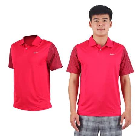 (男) NIKE GOLF TW快速排汗短袖針織衫- 高爾夫球 POLO衫 立領 紅銀