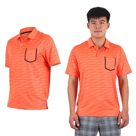 (男) NIKE GOLF 排汗短袖針織衫- 高爾夫球 POLO衫 立領 T恤 橘黑銀