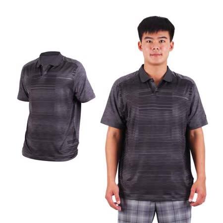 (男) NIKE GOLF 排汗提花針織POLO衫- 高爾夫球 短袖T恤 立領 深灰黑 2XL