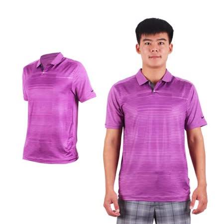(男) NIKE GOLF 排汗提花針織POLO衫- 高爾夫球 短袖T恤 立領 深紫條紋