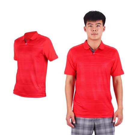 (男) NIKE GOLF 排汗提花針織POLO衫- 高爾夫球 短袖T恤 立領 條紋暗紅
