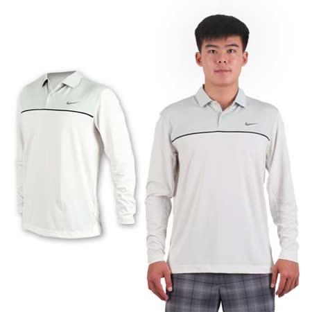 (男) NIKE GOLF 排汗長袖彈性針織POLO衫- 高爾夫球 立領 T恤 白黑灰