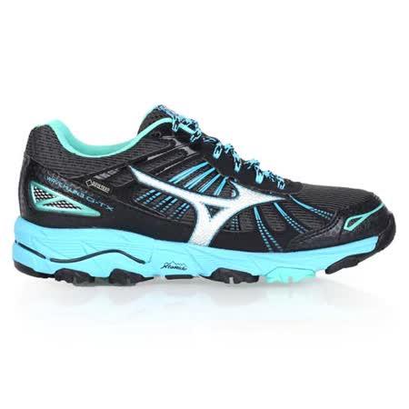 (女) MIZUNO MUJIN 3 G-TX 越野慢跑鞋-GORE-TEX 美津濃 黑水藍湖水綠