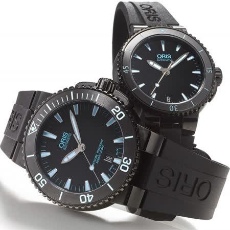 Oris Aquis 時間之海中型潛水機械對錶-鍍黑x藍/43+36mm 0173376534725-0742634BEB+0173376524725-0741834B