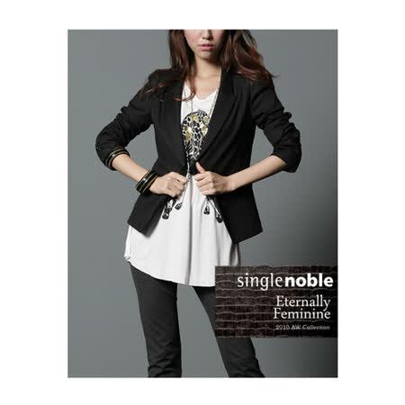 獨身貴族 純棉七分袖西裝外套 (共一色)-黑色