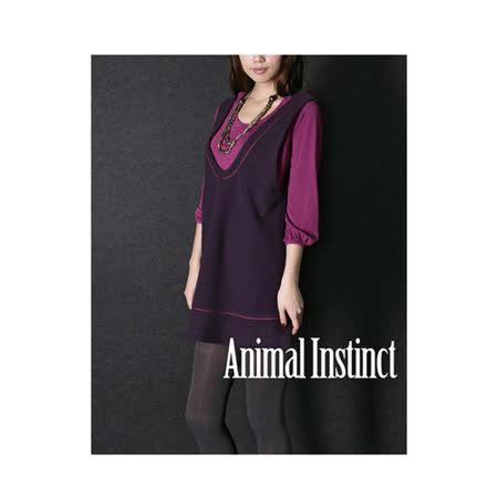 CHICA 質感毛料大U領背心洋裝(共三色)-深紫