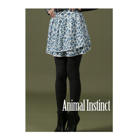 CHICA 甜甜豹紋飄逸美感短裙(共二色)-藍豹紋