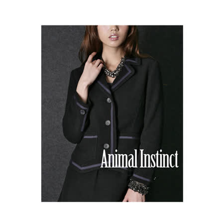 CHICA 氣質典雅 滾邊毛尼西裝外套(共三色)-黑色