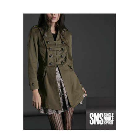 SNS 軍儀時尚帥氣雙排扣外套(共三色)-軍綠