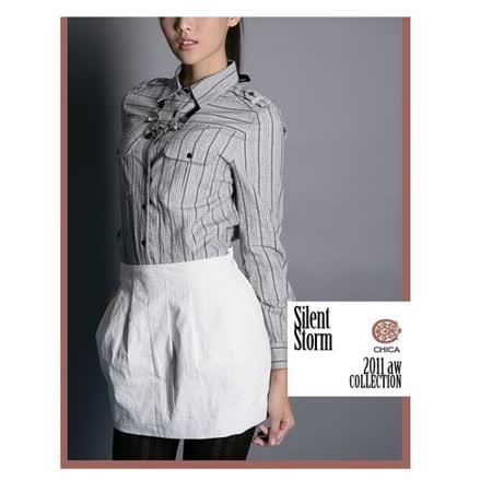 CHICA 都會仕女 皮革感短裙(共一色)-白色