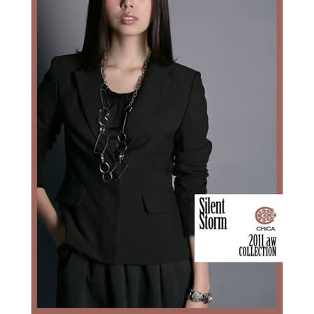 CHICA 時尚貴族 雙口袋西裝外套(共二色)-黑色