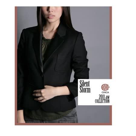 CHICA 超顯瘦 腰身設計完美西裝外套(共一色)-黑色