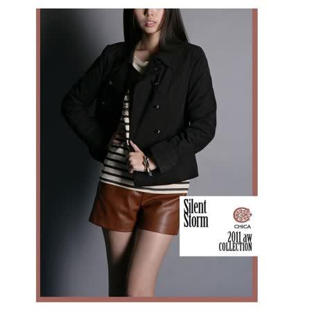 CHICA 學院雙排釦 挺版棉質短大衣(共二色)-咖啡