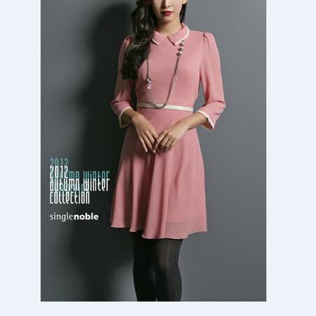 獨身貴族 完美淑女 小香領七分袖洋裝(共二色)-胭脂紅