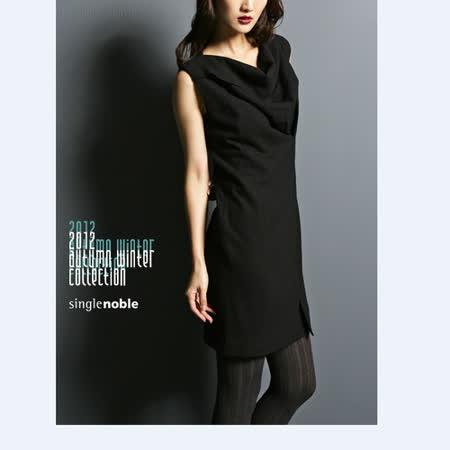 獨身貴族 宴會焦點 削肩垂領造型洋裝(共二色)-黑色