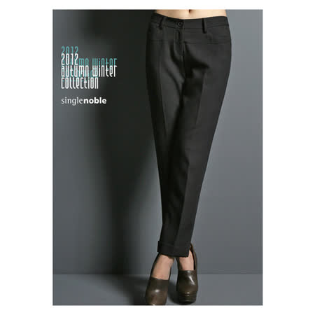 獨身貴族 主角級 中線九分直筒西裝褲(共三色)-黑色