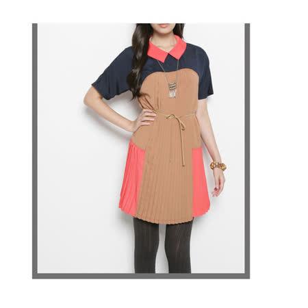 CHICA 繽紛饗宴 色彩拼接褶紋洋裝(共二色)-棕色