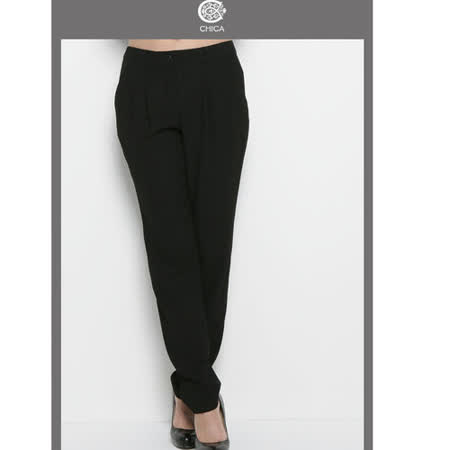 CHICA 韓風時尚 寬鬆雪紡長褲(共二色)-黑色