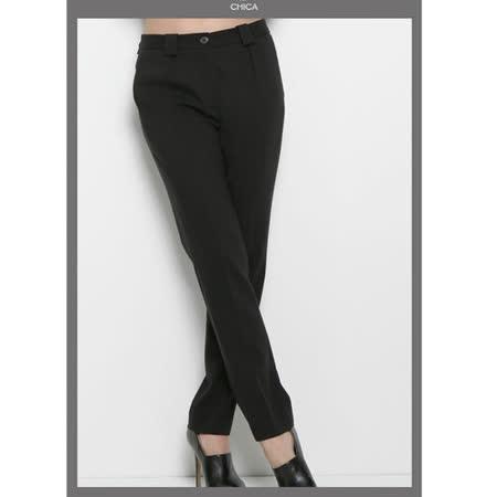 CHICA 輕學院風 有型俐落西裝褲(共三色)-黑色