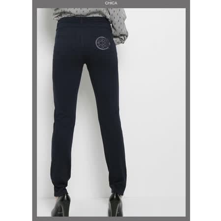 CHICA 翹臀No.1 貼身美型窄管褲(共三色)-深藍