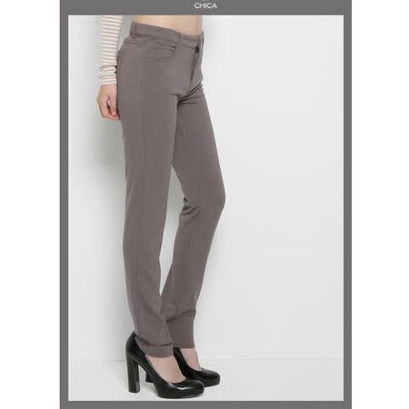 CHICA 翹臀No.1 貼身美型窄管褲(共三色)-灰褐