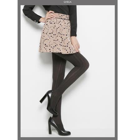 CHICA 法式浪漫 輕甜高腰短裙(共二色)-卡其底藍心