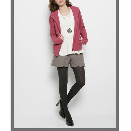 CHICA 浪漫滿屋 純色連帽小外套(共三色)-褐紫紅